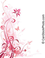 grunge, 핑크, 꽃의