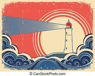 grunge, sea., 등대, 푸른 배경