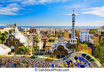 guell, 바르셀로나, 공원, 스페인