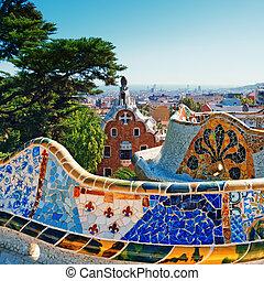 guell, 바르셀로나, -, 공원, 스페인