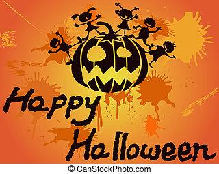 halloween, 카드, 행복하다