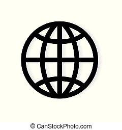 icon-, 삽화, 지구, 벡터, 지구