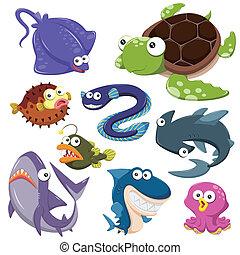 illusration, 바다, 만화, 수집, 동물