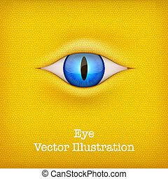 illustration., 동물, 황색, 벡터, 배경, eye.