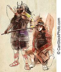 illustration., freehand, 사무라이, 그림, 손, 그어진, painting., warriors.