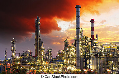 indutry, 정련소, 기름, -, 공장