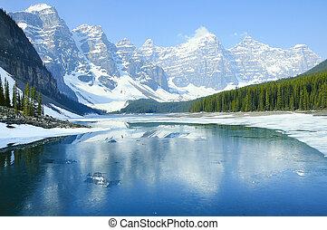 lake., banff, 한 나라를 상징하는, park., 빙퇴석