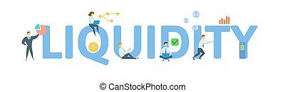 liquidity., 고립된, 개념, 키워드, white., icons., 사람, 벡터, illustration., 바람 빠진 타이어