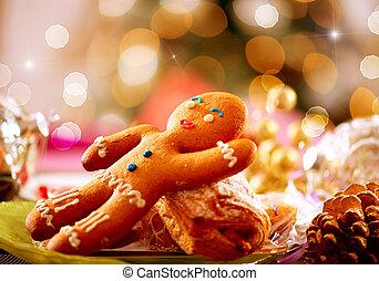 man., 크리스마스, 진저브레드, 휴일, 음식., 테이블 조정