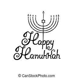 menorah, 별, hanukkah, 유태인, light., 손, david., 휴일, lettering., 행복하다