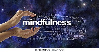 mindfulness, 구름, 낱말, 숙려