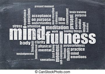mindfulness, 구름, 칠판, 낱말
