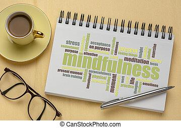 mindfulness, 낱말, 사생첩, 구름