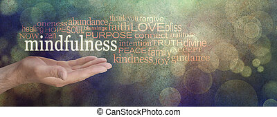 mindfulness, banne, grunge, 낱말, 구름