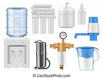 mockup, 물, 필터, 카트리지, 깡통, 가정
