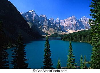 morraine 호수, 공원, 한 나라를 상징하는, banff