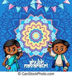 navaratri, 포스터, 아이들, 행복하다, 디자인