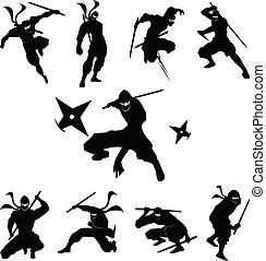 ninja, 그림자, 벡터, 실루엣