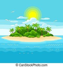 ocean., 나무., 여행, 삽화, 대양, 열대적인, 손바닥, 배경, 섬, 조경술을 써서 녹화하다
