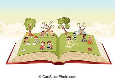park., 노는 것, 열려라, 귀여운, 만화, 키드 구두, 녹색, 책