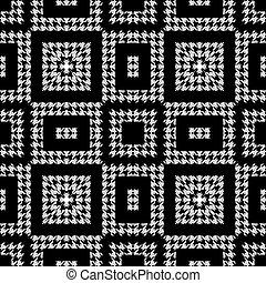 pattern., 나뭇결이다, 지그재그, 꾸밈이다, 현대, houndstooth, grunge, 직물, 백색, 직사각형, 사냥개, 정방형, 벡터, ornaments., 디자인, 반복, 검정, 이, 기하학이다, shapes., 배경., seamless