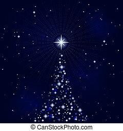 peacefull, 밤, 나무, 크리스마스, 별이 많은