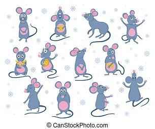 poses., 세트, 혼자서 젓는 길쭉한 보트, 수집, 쥐, 벡터, 다른, cheese., 너의, 귀여운, 생쥐, 디자인