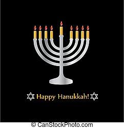 poster-, hanukkah, 상징, 행복하다, 별, 휴일, 유태인, david, 축하