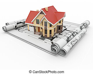 project., 주거다, 주택, 건축가, 집, blueprints.