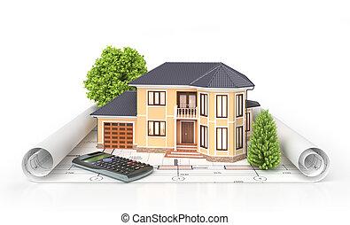 project., 주거다, 주택, 삽화, 건축가, 집, 도구, blueprints., 3차원
