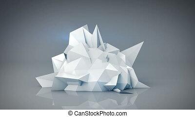 render, 떼어내다, 형체., polygonal, 생기, 백색, 고리, 3차원