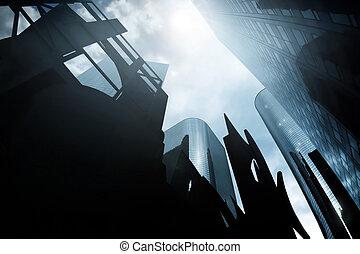 scape, 불길한, 도시