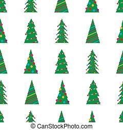 seamless, 크리스마스 나무, 패턴, 녹색