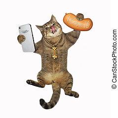 selfie, 은 가지고 간다, 고양이, 소시지