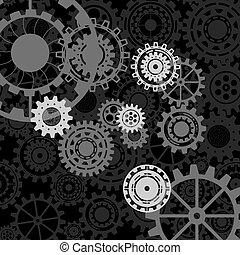 service., 비즈니스 아이콘, ?onnected, concept., 우주기계론, 전략, 은 설치한다