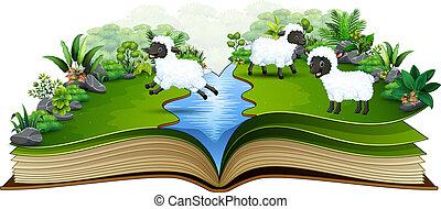 sheep, 그룹, 책, 강, 열려라, 노는 것