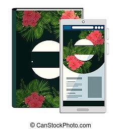 smartphone, 원본, 열대적인, 책, 인쇄, 꽃
