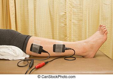 stimulator, 여자, eletrical, strenght, 증가, 치료, 방출, 고통, 근육, 자연의 이치에 의한