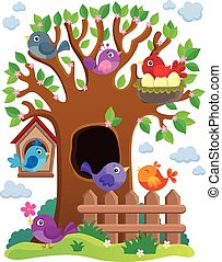 stylized, 주제, 나무, 새