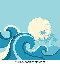 sun., 파랑, 삽화, 바다, 파도, 벡터, 바다 경치, 포스터, 자연