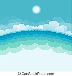 sun., 푸른 배경, 바다, 삽화, 벡터, 바다 경치, 자연