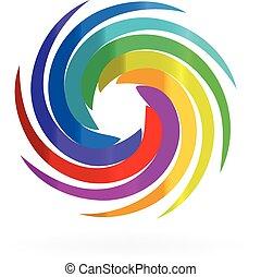 swirly의, 무지개, 파도, 로고