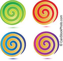 swirly의, 버튼, 세트, 로고