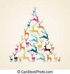 vector., 나무, 순록, 소나무, 모양, 메리 크리스마스