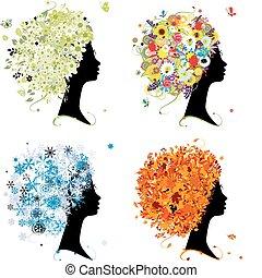 winter., 머리, 예술, 봄, 가을, -, 4, 디자인, 여성, 은 맛을 낸다, 너의, 여름
