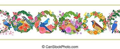 wreaths., 나는 듯이 빠른, 꽃의, 새, seamless, 수평이다, 경계